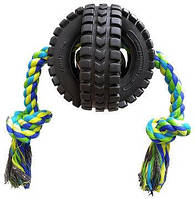 Игрушка на канате TPet Qwerks Jingle X Tire Ball with Rope (500601) S