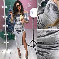 Платье с разрезом велюровое, разные цвета