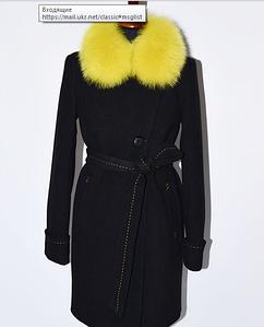 Зимнее женское пальто с контрастным мехом