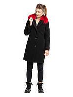 Зимнее пальто с контрастным мехом