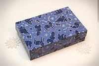 Коробка для еклеров, зефира, печенья и др. кондитерских изделий Зимняя синяя 230x150x60мм