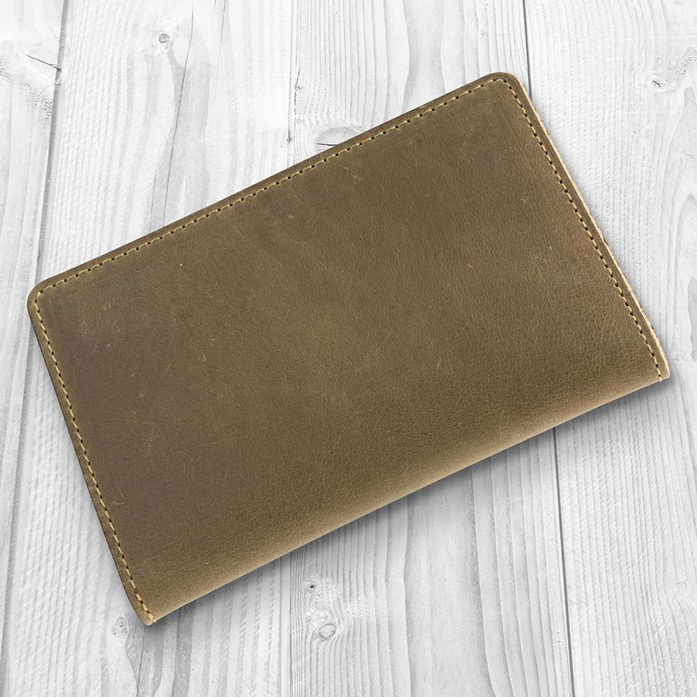 Компактне шкіряне портмоне оливкового кольору