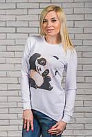 Большие размеры! Туника женская Панда белая