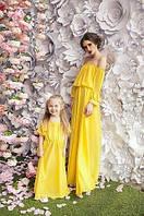 Платье с открытыми плечами Family look (мама-дочка) Цвета в ассортименте