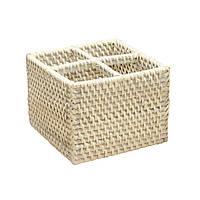 Корзина для мелочей плетеная Home4You CELESTE 4 cells  16x16xH12cm  rattan  washed white