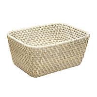 Корзинка плетеная для фруктов Home4You CELESTE  26x21xH12cm  rattan  washed white