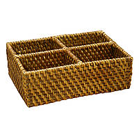 Корзина для посуды и фруктов плетеная Home4You CREPIN 4 cells  24x18xH8cm  rattan  brown