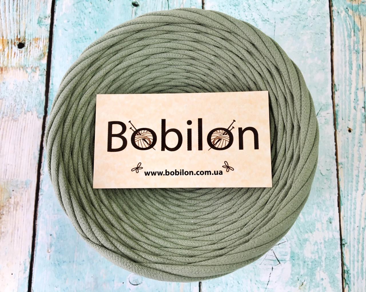 Трикотажная пряжа Bobilon Medium (7-9 мм) Olive Оливковый 50 метров