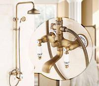Душевая стойка в ванную со смесителем краном лейкой и верхним душем бронза 0234
