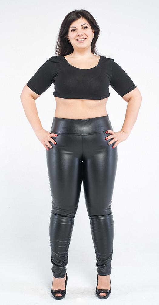 Леггинсы больших размеров кожаные утяжка, черные