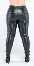 Леггинсы больших размеров кожаные утяжка, черные, фото 3