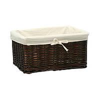 Корзина плетеная лоза для дома Home4You MAX 30x21x18cm  weave  dark brown  fabric