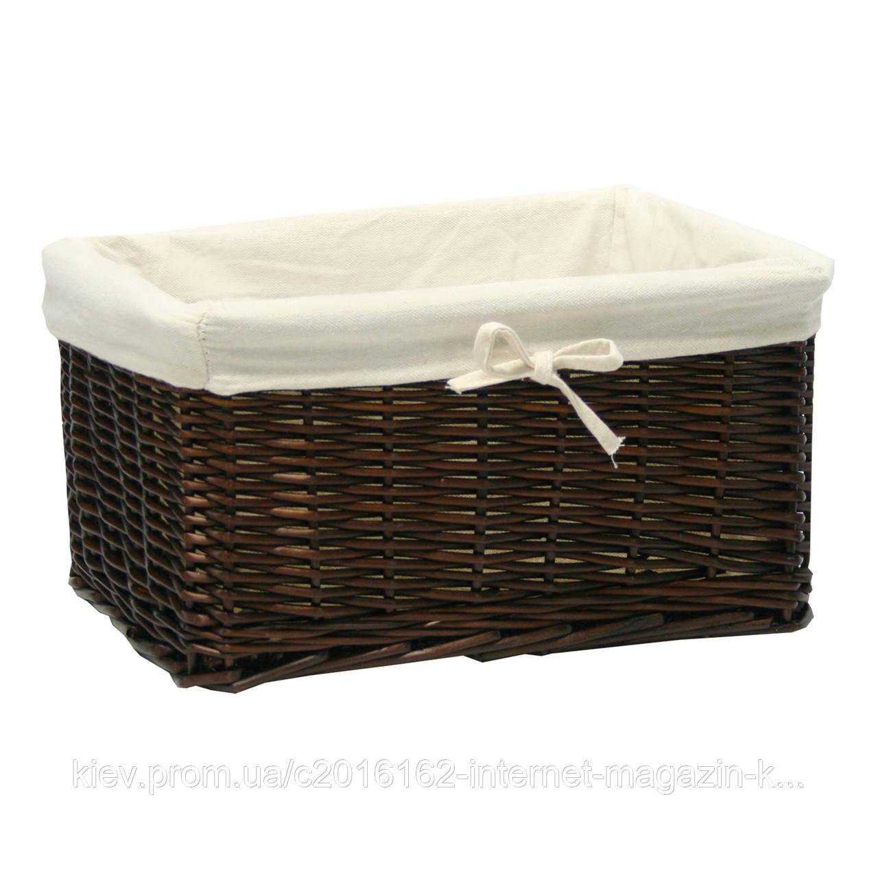 Корзинка для дома из лозы и хлопка Home4You MAX 37x29x19cm  weave  dark brown  fabric
