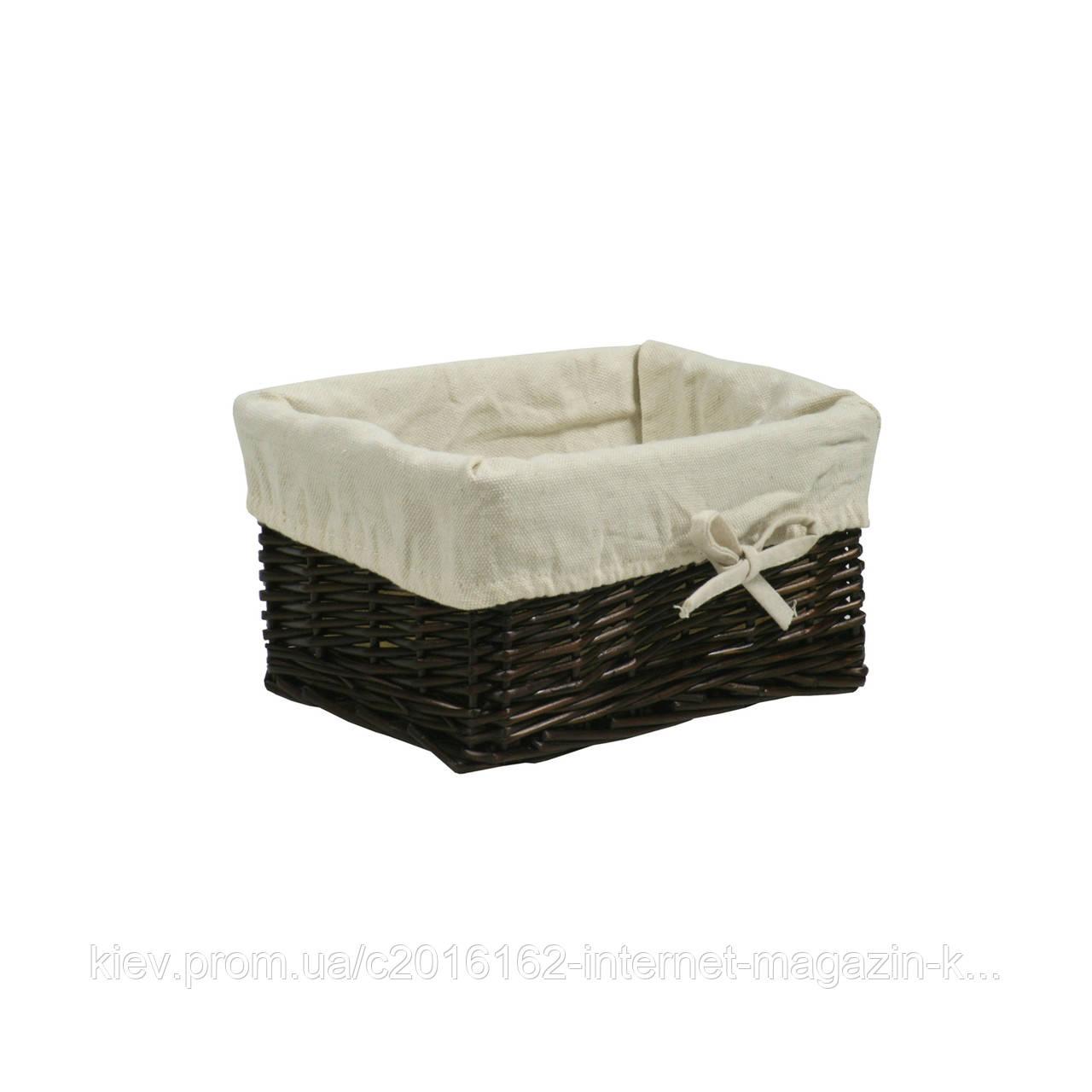 Корзинка из лозы для дома Home4You MAX-2  24x18xH12cm  weave  dark brown  fabric