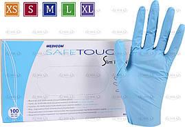 Нитриловые перчатки 5г/м² неопудренные (100шт/уп) Медиком SafeTouch® Slim Blue