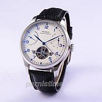 43mm Parnis Automatic Movement Wristwatch Power Reserve White Dial Men Boy Watch
