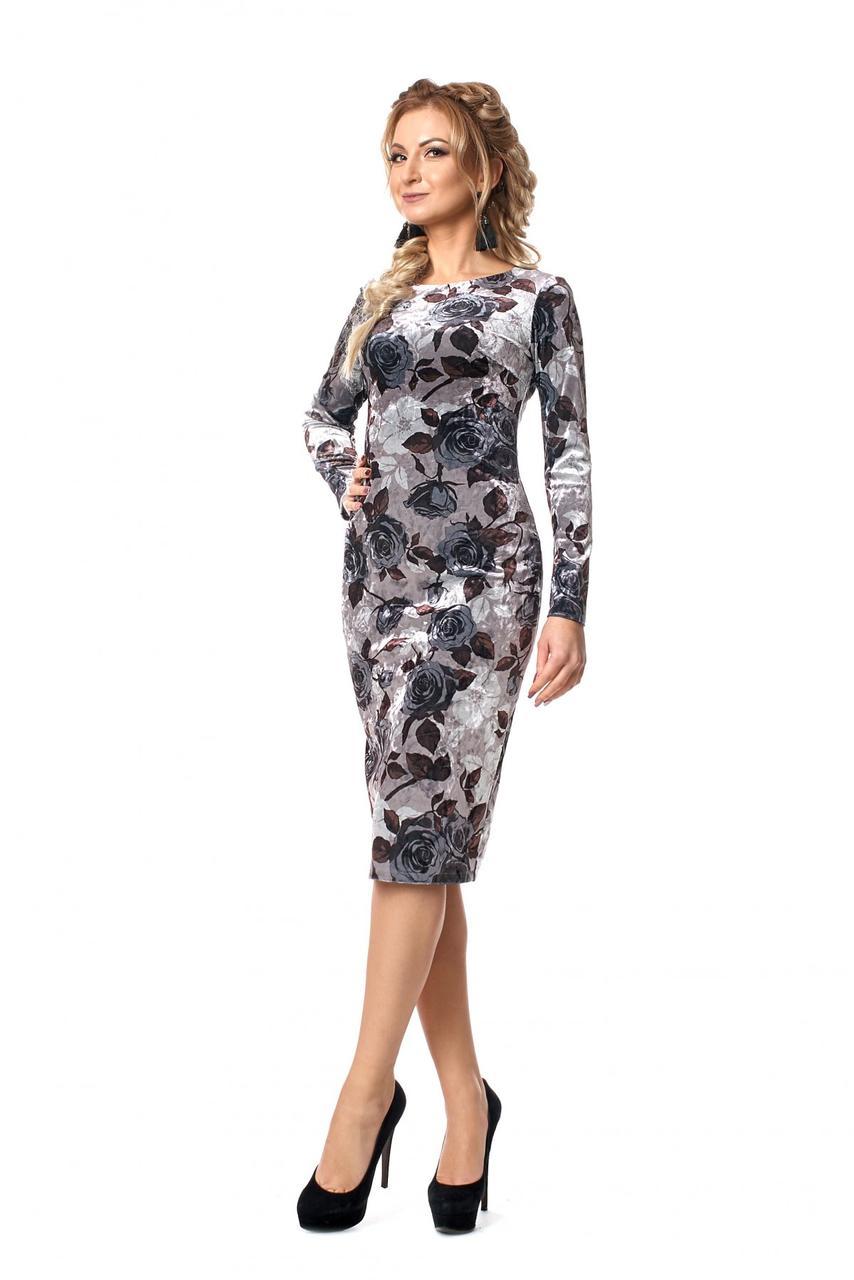 Элегантное бархатное женское платье с принтом роз