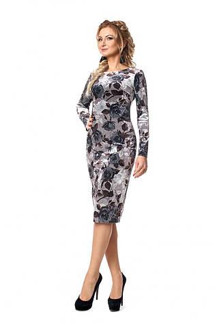 Элегантное бархатное женское платье с принтом роз, фото 2