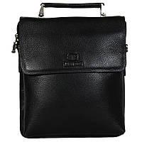 Мужская кожаная сумка из плотной кожи черная с ручкой (Италия) Lare Boss LB009923-41