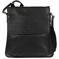 1216875376e6 Добротная мужская сумка через плечо для документов черная Lare Boss  (Италия) LB00146-21
