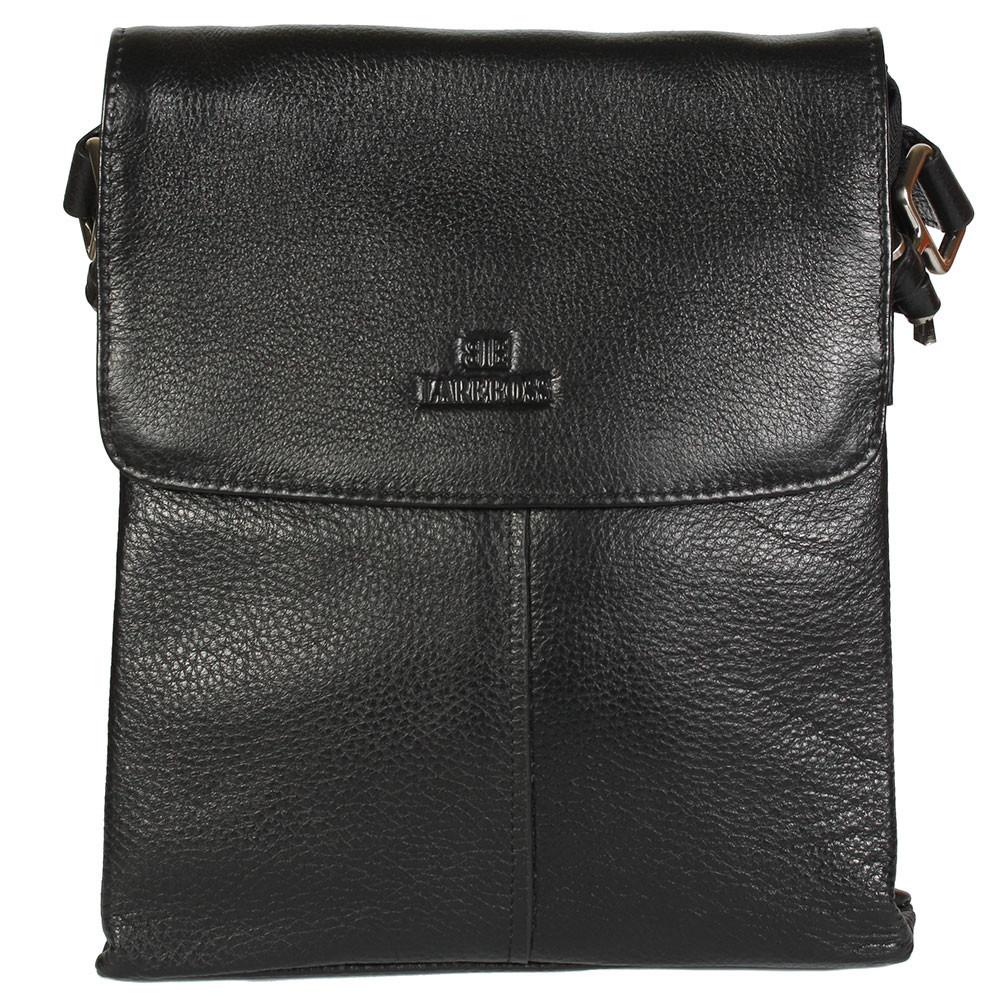 b0f29a90f16f Повседневная мужская кожаная сумка-планшетка черная (Италия) Lare Boss  LB005873-51