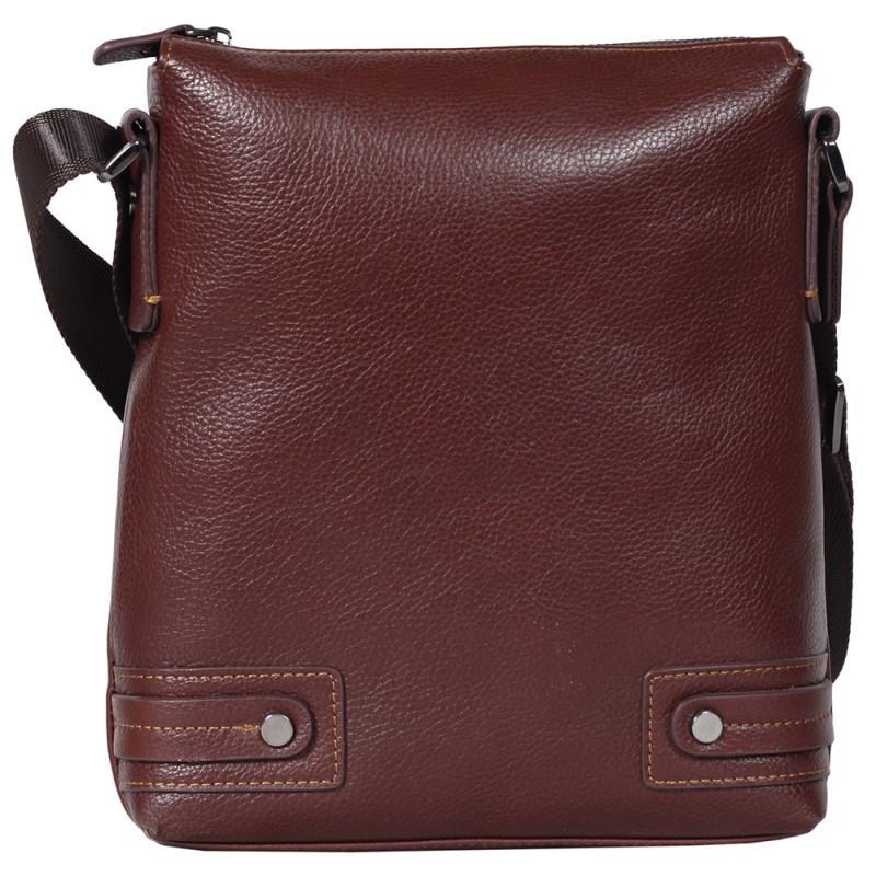db18f9f5464d Удобная мужская кожаная сумка-планшетка через плечо коричневая Tofionno  TF003301741 - e-sumki.