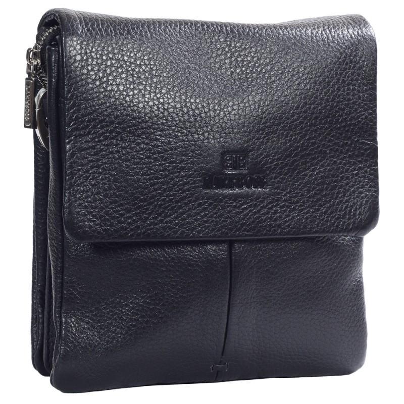e9256f90aa43 Небольшая мужская кожаная сумка через плечо черная Lare Boss LB0038369-11