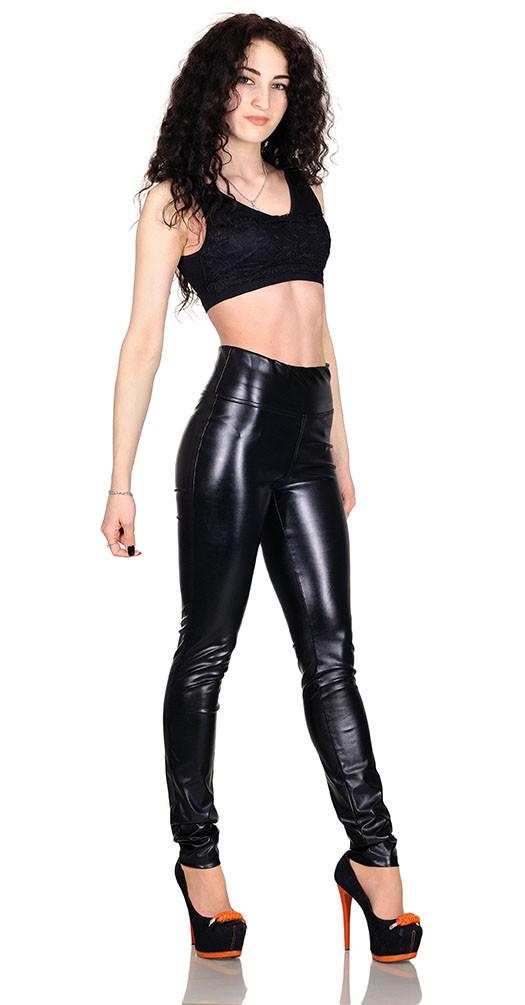 Джеггинсы кожаные утяжка черные