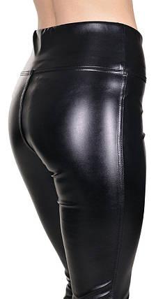 Джеггинсы кожаные утяжка черные, фото 2