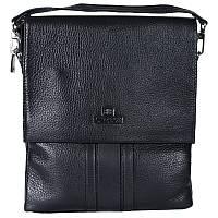 Универсальная мужская кожаная сумка-барсетка через плечо со съемной ручкой черная Lare Boss LB0049552-31