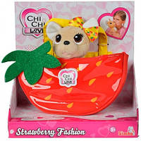 Чихуахуа Фэшн (18 см) с сумочкой, фруктовая мода (клубника), Chi Chi Love