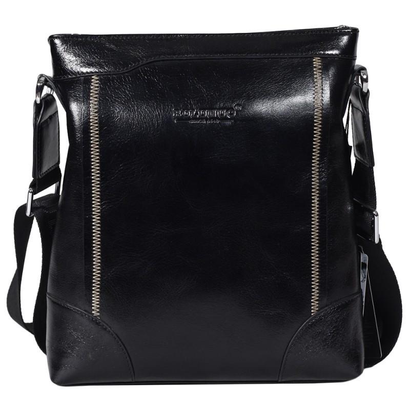 5043184adf6f Изысканная мужская кожаная сумка черная глянцевая Bulunuo BL005970 ...