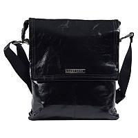 05d0bcae3848 Модная мужская кожаная сумка через плечо лакированная черная Lare Boss  LB002177-2051. Надежный продавец.