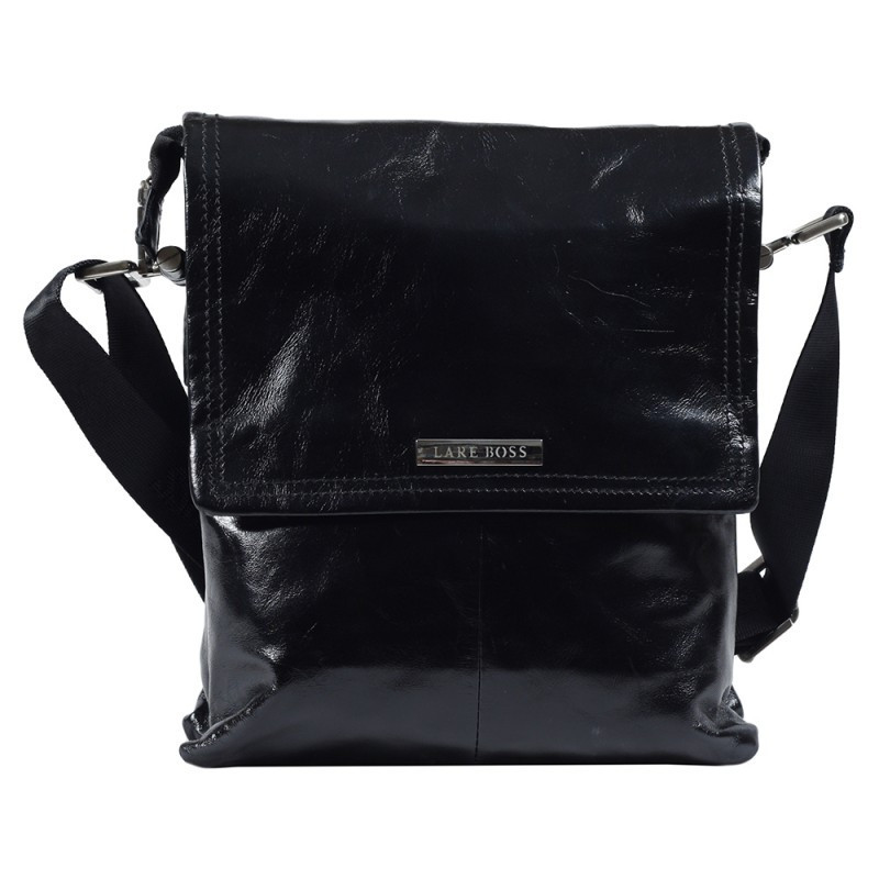 7c7862033abe Модная мужская кожаная сумка через плечо лакированная черная Lare Boss  LB002177-2051