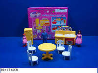 """Мебель """"Jennifer"""" 2898 (72шт)для гостинной,шкаф,тумба..,куклы 2дев+мальч.,в кор. 20*17*6см"""