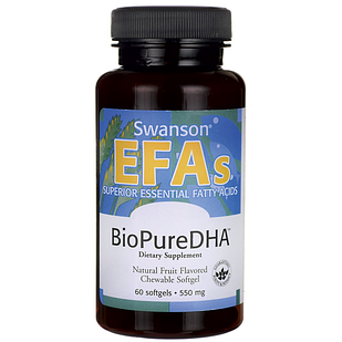 Swanson EFAs BioPure DHA Fish Oil Chewable Softgels, 60 шт.