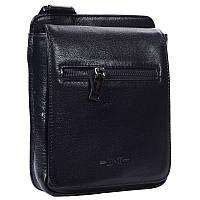 Стильная мужская кожаная сумка небольшого размера черная High Touch HT007811-11, фото 1