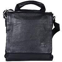 Мужская сумка из натуральной кожи с плечевым ремнем черная (Италия) Lare Boss LB0078181-21