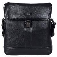Мужская сумка из натуральной кожи с плечевым ремнем черная High Touch HT007816-41