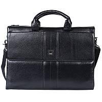 Качественный деловой мужской кожаный портфель с отделением для ноутбука черный High Touch HT007828-11, фото 1