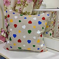 Декоративная подушка 45х45 Сердечки разноцветные: съемная наволочка, наполнитель холлофайбер