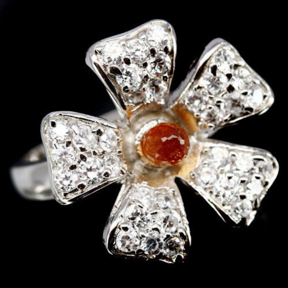 Гранат Спессартин, серебро 925, кольцо, 757КГ