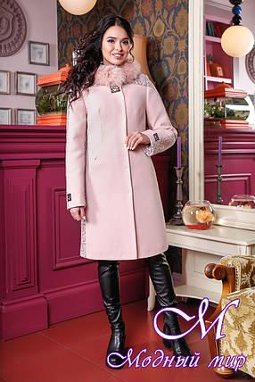Женское розовое зимнее пальто (р. 44-52) арт. 851 Тон 3, фото 2