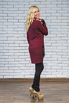 Туника (есть большие размеры) с кружевом  бордо, фото 3