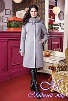 Женское кашемировое зимнее пальто с мехом (р. 44-52) арт. 851 Тон 13
