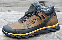 Зимние мужские кроссовки на меху, натуральная кожа стильные коричневые с черным (Код: М909) 40