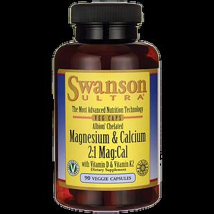 Swanson Ultra Albion Chelated Magnesium & Calcium 2:1  для кстей + витамины D и K  90 шт