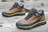 Зимние мужские кроссовки на меху, натуральная кожа стильные коричневые с черным  (Код: М909а)