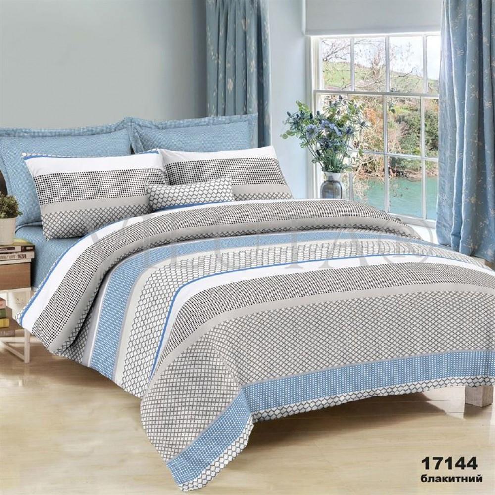 Евро макси набор постельного белья 200*220 из Ранфорса №17144blue Viluta™