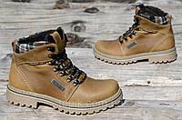 Зимние мужские ботинки, крутые натуральная кожа рыжые прочные прошиты (Код: М900а)